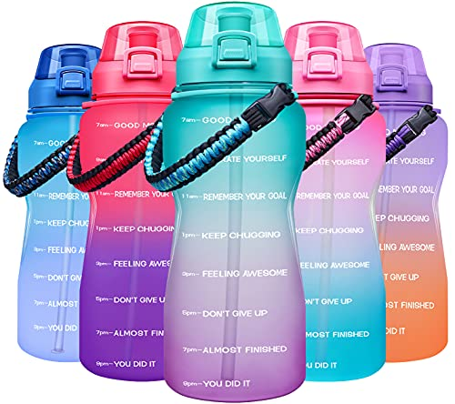 Giotto Large Half Gallon/64OZ Motivational Water Bottle with Paracord Handle & Removable Straw - Leakproof Tritan BPA Free Fitness Sports Water Jug with Time Marker-Green/Purple Gradient