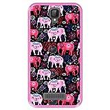 Hapdey Funda Rosa para [ ZTE Blade L5 - L5 Plus ] diseño [ Patrón Brillante de Elefantes Rosados y Rojos ] Carcasa Silicona Flexible TPU