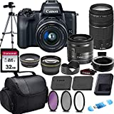 Canon EOS M50 Mirrorless Digital Camera (Black) & 15-45mm STM + 75-300mm III Lens w/EOS M Mount Adapter + 32GB Transcend Memory Card, Shoulder Bag & Commander Optics Accessory Bundle