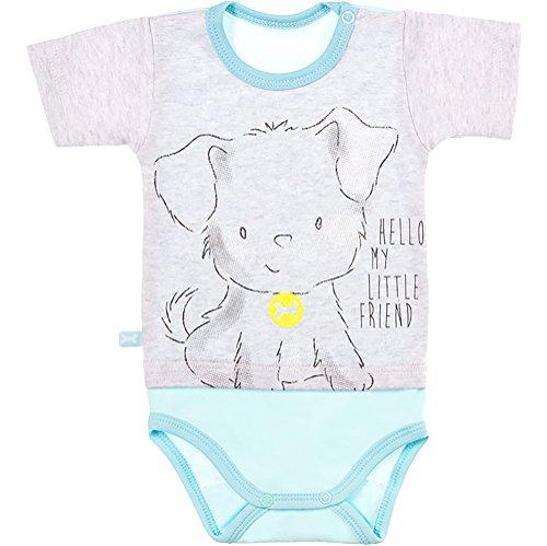 Be Mammy Body Mangas Cortas Ropa Bebé BEEK0009 (Gris/Azul Cielo, 92)