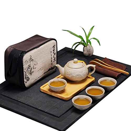 Hoobar Chinese Kungfu Tea Set/Portable Travel Tea Set with a Travel Bag Dragon Pattern (Style 2 (4 cups))