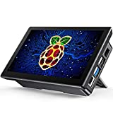 Raspberry Pi Touchscreen Case with Fans & Stand, 7'' Raspberry Pi 4/ 4b/ 3/ 3b/ 3b+ Portable Touchscreen Monitor Display Hand Held Laptop Computer Monitor with IPS 1024x600 & Dual-Speaker