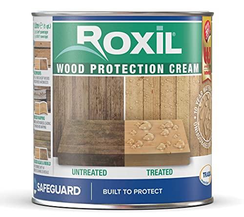 Roxil lasur al agua hidrófugo transparente para madera exterior (1 Litro) - Tratamiento de acabado incoloro impermeabilizante durante 10 años