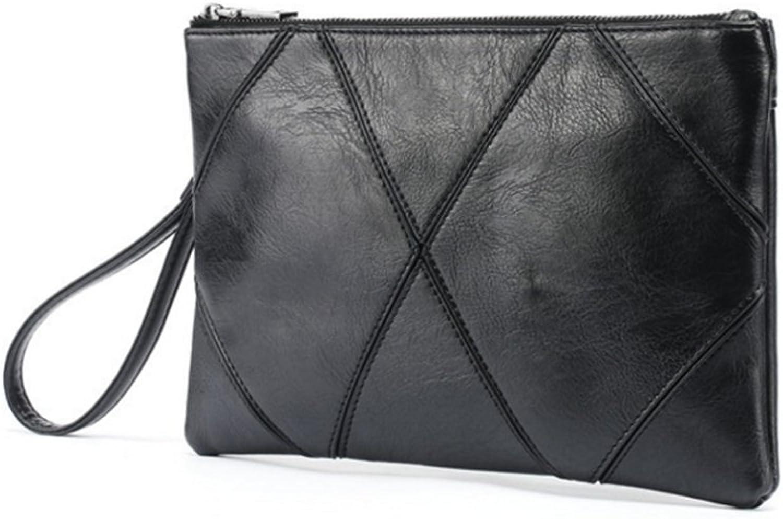 SHUAIGE Männer Hand mit Brieftasche dünne Schwarze Diamant Muster Gitter Clutch Tasche Kupplung Reißverschluss bereift weiche Tasche B07PK8B187  Stabile Qualität