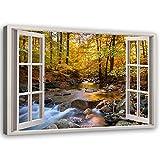 Cuadro de Pared XXL 3d ventana Impresión Lienzo río Marrón 120x80 cm