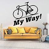 Tianpengyuanshuai Frase Bicicleta Pegatina de Pared Vinilo Autoadhesivo Impermeable Calcomanía de Pared Sala de Estar Dormitorio Decoración para el hogar 28X33cm