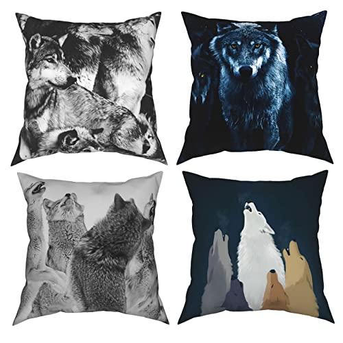 Esta funda de almohada decorativa de la tierra de los lobos de 12 x 12 pulgadas, 4 piezas para el hogar, sofá, dormitorio, sala de estar