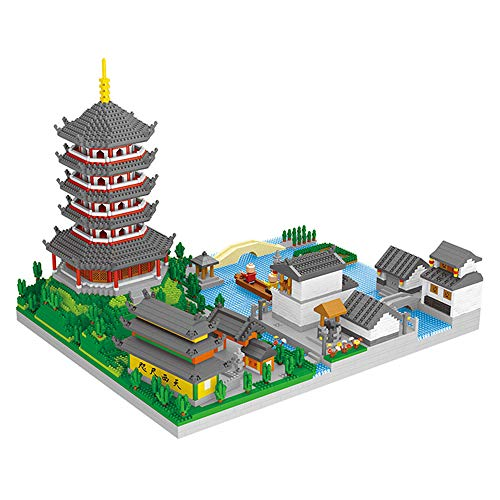 Building Block Set Architecture Series, 7200 Stück DIY Architecture Model Kit Baugeschenk für Erwachsene und Kinder, Mini Nano Bricks Chinese West Lake Landmark Baukasten