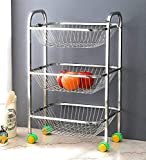 Stainless Steel 3 Layer Kitchen Trolley Rack (Silver)