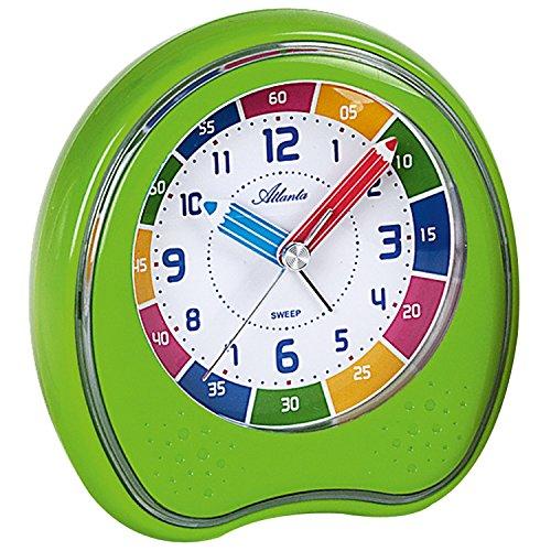 ATLANTA - wekker - kinderwekker - groen - stil zonder tikken - leerwekker voor kinderen