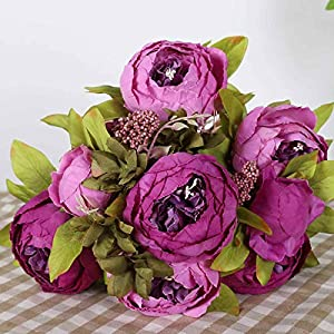 Unionm Peony Hydrangea Artificial Flowers Vintage Spring Summer Faux Flower Stems Bunch Bouquet for Home Ornament Photographing Wedding Decor Mother's Day Valentine (7#Purple)