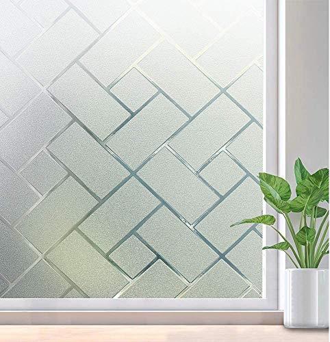 Película para ventanas de privacidad patrón de celosía esmerilada película electrostática autoadhesiva pegatina de ventana anti-ultravioleta película decorativa de vidrio decorativo A105 60x200cm