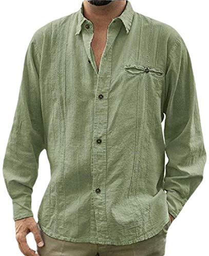Camisa Cubana Guayabera Camisa De Lino Con Botones De Manga Larga Playa Campamento Camisa