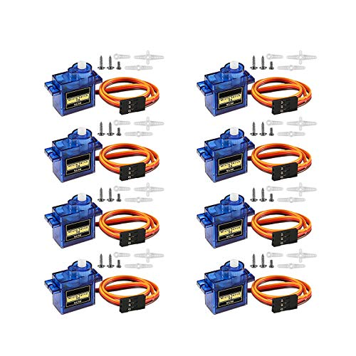 Dealikee 8 Pcs SG90 9G Micro Servo Motor Kit, Mini Servos for RC Robot Arm/Hand/Walking Helicopter Airplane Car Boat Control with Cable