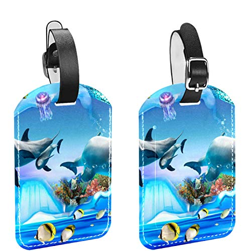 FURINKAZAN Dolphin Penguin Jelly Aquarium 2 Pack Luggage Tag Suitcases Travel Bag Baggage ID Label Tags