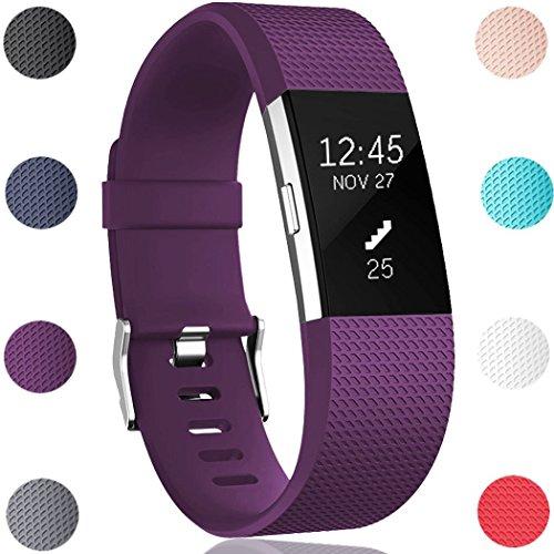 HUMENN Ersatz Fitbit Charge 2 Armband, Weich Verstellbares Armband mit Klassisch Schnalle für Fitbit Charge 2 Large Pflaume