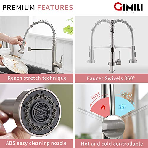 GIMILI Kitchen Faucet with Pull Down Sprayer Commercial Single Handle Lever Spring Kitchen Sink Faucet Brushed Nickel