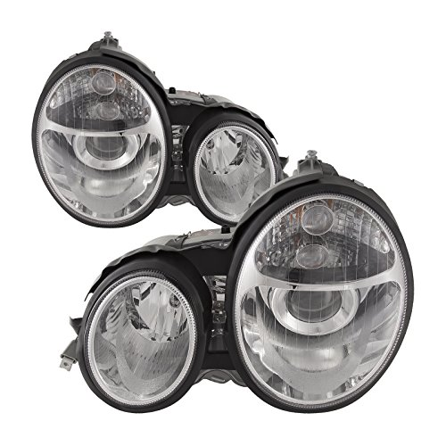 HEADLIGHTSDEPOT Chrome Housing Halogen Projector Headlights Compatible with Mercedes-Benz E-Class E300 E320 E420 E430 E55 AMG Includes Left Driver and Right Passenger Side Headlamps