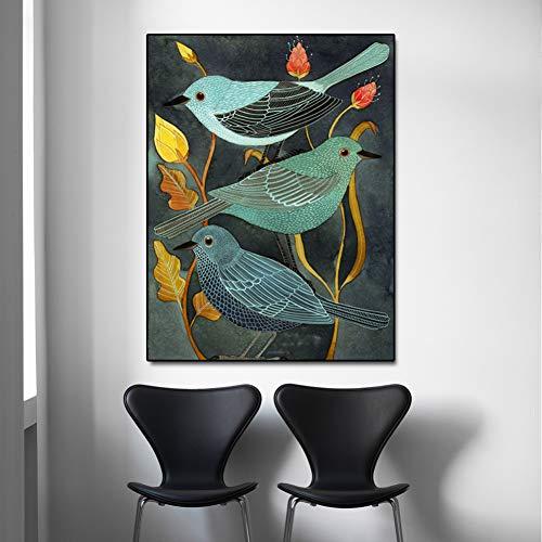 QAZEDC Art print canvas decoratief schilderij Het verhaal van de nachtegaal en planten Dieren Vogels Olieverfschilderij op Canvas Wall Art Foto's voor Woonkamer Home Decor Geen Frame