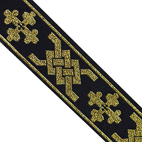 JL 363 Jacquard Metallic Gold Bohemian Black Ribbon Trim 1-5/16' (33mm) 5 Yards DIY for Sewing Crafting Home Decor, Wedding, Gift Wrapping, Head Bands, Bag Straps