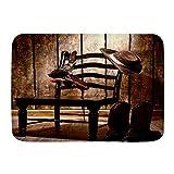 kThrones Tapis de Bain,Western Cowboy Hat Pistol Chair Vintage Planches de Bois Rustique,Tapis de décor de Salle de Bain en Peluche avec Support antidérapant,(75x45cm)