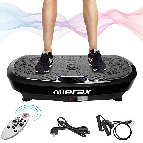 Merax Profi Vibrationsplatte 3D Wipp Vibration Technologie + Bluetooth Musik, Riesige Fläche, 2 Kraftvolle Motoren + Einmaliges Design + Trainingsbänder + Fernbedienung