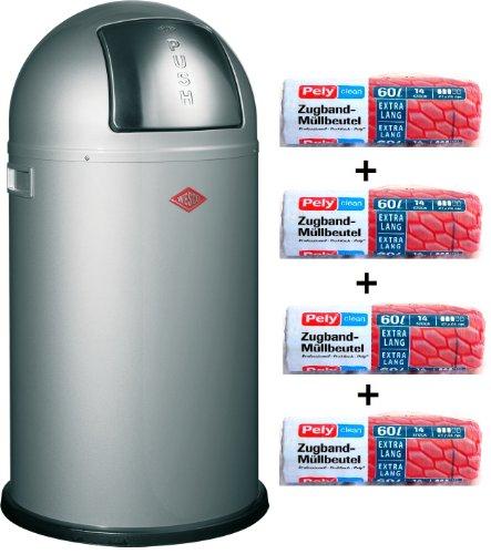 WESCO Pushboy 50-Liter Mülleimer Silber + 56 Stück optimal passende Müllbeutel