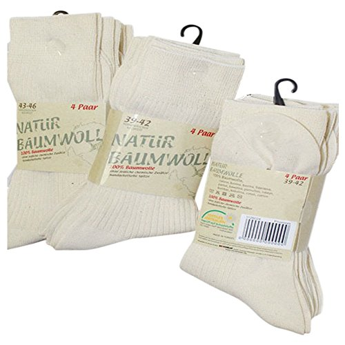 8 Paar Natur Bio 100 prozent Baumwolle Socken ohne Naht Kochfest, 35/38, Natur