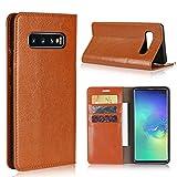 Samsung Galaxy S10 Plus SC-04L SCV42 6.4インチ ケース 手帳型 Zouzt 本革レザー 財布型カバー ソフトケース カード収納 スタンド機能 二つ折り ベルトなしマグネットなし 軽量手作り 耐久性 ライトブラウン