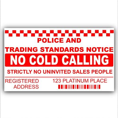 Gepersonaliseerd met uw adres-Geen Koude bellers, Verkoper bellen Waarschuwingshuis Sticker-Zelfklevende Vinyl Deur of Venster Teken