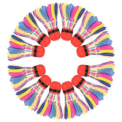 Girls'love talk 11 Stück Badminton Bälle, Gänsefeder Badminton Federbälle, Badminton Bälle Naturfederbälle mit hoher Stabilität und Haltbarkeit, Federball, Badminton Set