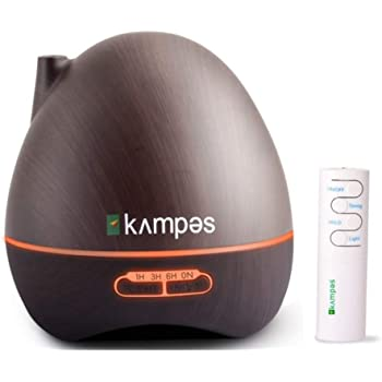 kampes Cool Mist Aroma Diffuser & Humidifier with remote and complimentary lemongrass oil 10 ml (Wooden Grain, 300 ml)