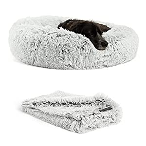 "Best Friends by Sheri Bundle Savings – The Original Calming Shag Donut Cuddler Dog Bed in Medium 30″"" x 30″"" and Pet Throw Blanket in 30″"" x 40″"", Frost. (BND-DBT-SHG-FRS-30SM)"