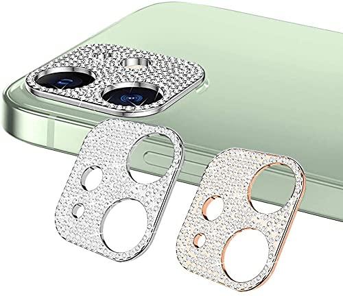 SeNool 【2枚セット】 iphone 12 対応 カメラフィルム カメラカバー ケース レンズカバー カメラ保護 ラインストーン レンズ キラキラ 保護フィルム シルバー&ローズピンク カメラ保護カバー キズ防止 可愛い 3Dデコレーション iiphone 12 対応 カメラフィルム