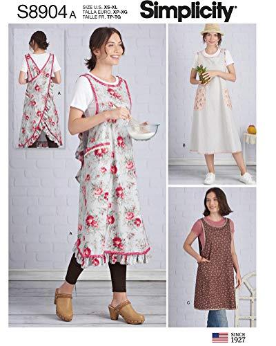 SIMPLICITY S8904 - Patrones de costura para delantal de mujer, papel, color blanco
