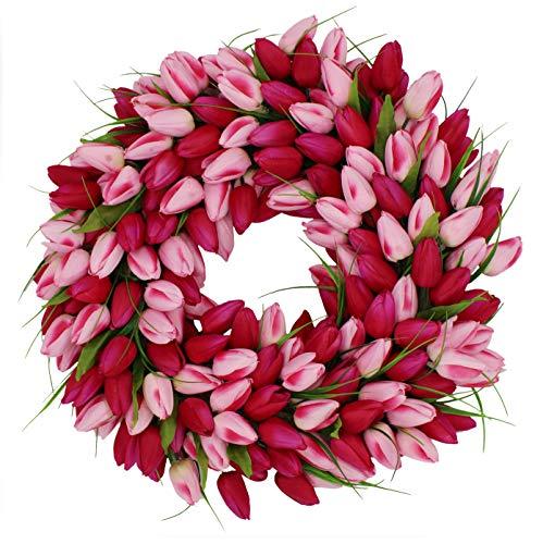 The Wreath Depot Pink Medley Tulip Wreath, 19 inch