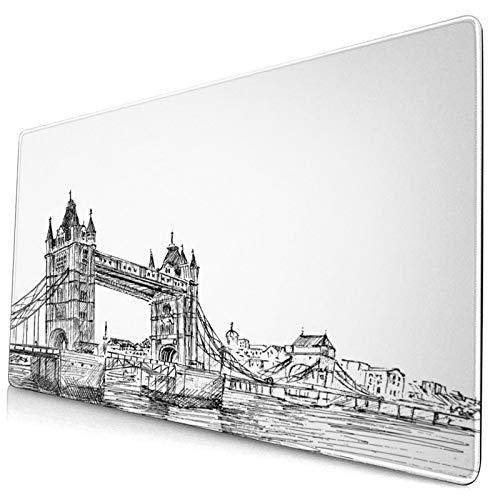 ALLMILL Alfombrilla Raton Impresión de Paisaje de London Tower Bridge Reino Unido Alfombrilla Gaming Alfombrilla para computadora con Base de Goma Antideslizante,750×400×3mm