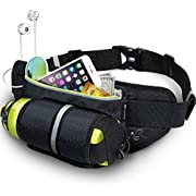 MYCARBON Running Belt with Water Bottle Holder Waterproof Bum Bag Cycling Waist Bag Jogging Belt Dog Walking Bag for Travel Holidays Camping Climbing Hiking Outdoor for Phones Below 6 inch