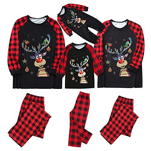 Pijamas familiares a juego para mujeres hombres niños bebé Navidad rojo Plaid Elk vacaciones pijamas ropa pijama, B-negro, 4-5 años