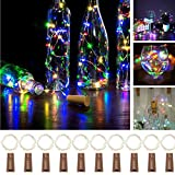 EPODA 10 Pack Wine Bottle Lights with Cork, 15 LED Silver Wire Cork Lights Waterproof Battery Operated Fairy String Lights for Jar Party Wedding Christmas (Colorful)