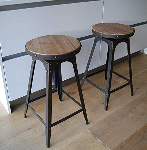 Stuhl im Café-Stil, höhenverstellbar, Vintage-Optik, rustikal