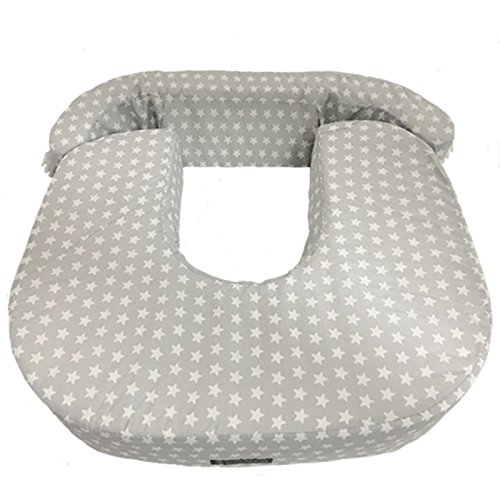 Cuscino per allattamento gemellare. Mimuselina - Per allattamento al seno di gemelli omozigoti o eterozigoti, per allattamento misto, per due bambini insieme, con rinforzo lombare Stelle grigie