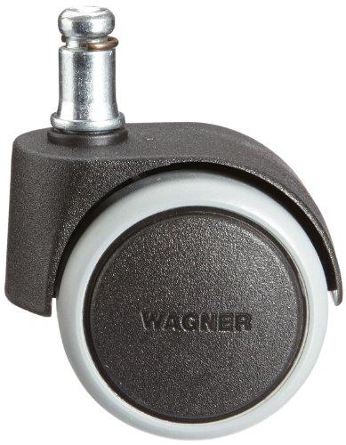WAGNER Drehstuhlrollen/Bürostuhlrollen 5tlg. Set - SOFT - Durchmesser Ø 50 mm, Softlauffläche, intervallgebremst, Steckstift 11 x 20 mm, Tragkraft 50 kg/Rolle - 02401161