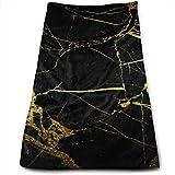 Elegante toalla de mano impresa con fondo negro y dorado, suaves y altamente absorbentes, toallas de baño grandes, multiusos para la cara de la mano, baño, gimnasio, hotel, spa, 30,5 x 27 pulgadas.