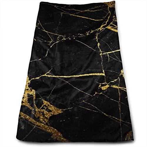 Stylish home Toalla de mano impresa con fondo negro y dorado, suave y altamente absorbente, toallas de baño grandes, multiusos para cara, baño, gimnasio, hotel, spa, 30 x 68 cm