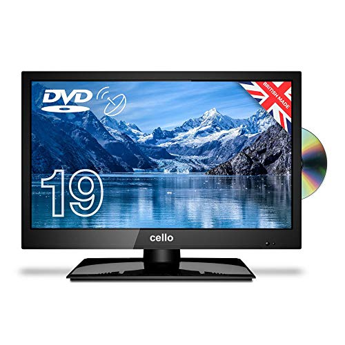 """Cello C1920FS 19"""" inch LED TV/DVD Freeview HD with Satellite Receiver 2020 Model Made In The UK , BLACK"""