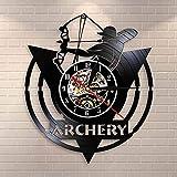 Flechas en las manos de los guerreros arco arco arco arco de pared reloj de pared tiro con arco logo tiro arco blanco disco de vinilo reloj de pared arquero regalo