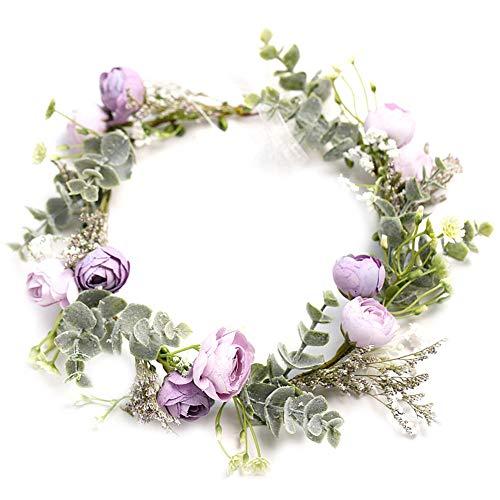 Meideli Wreath for Outdoor, Handmade Princess Flower Wreath Crown Headband Garland Festival Wedding Headwear - Purple