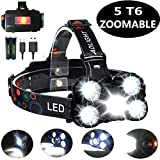 COOLEAD Torcia Frontale Zoomable 4 Modalità 5 LED Ricaricabile...