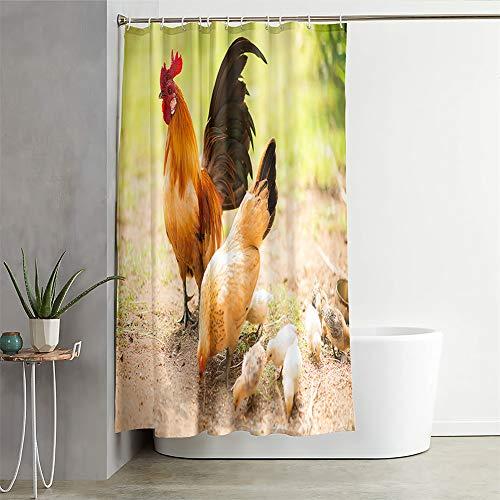 Chickwin Duschvorhang Wasserdicht Antischimmel, Duschvorhänge Polyester Waschbar Bad Vorhang mit 12 Duschvorhangringe - Tier Muster 3D Motiv Badewanne Vorhang (200x240cm,Gelbes Huhn)